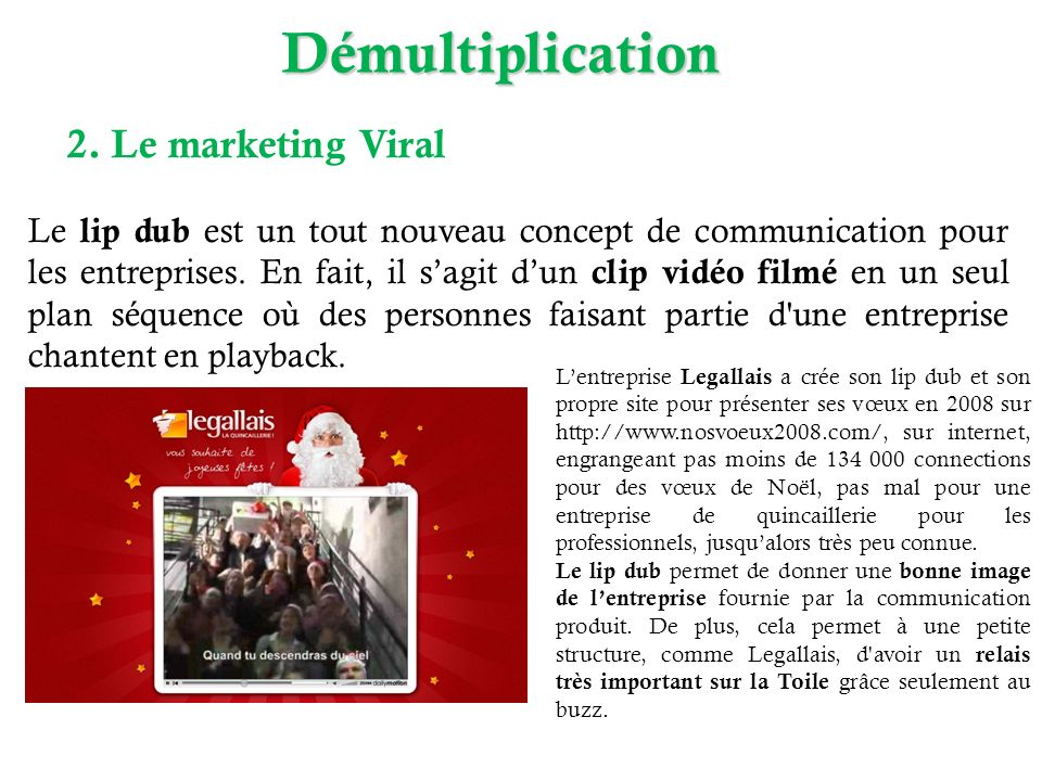 Démultiplication 2. Le marketing Viral