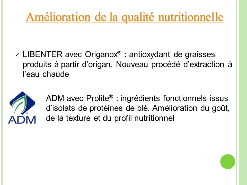 Amélioration de la qualité nutritionnelle