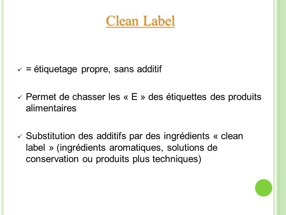 Clean Label = étiquetage propre, sans additif