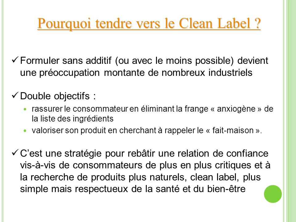 Pourquoi tendre vers le Clean Label