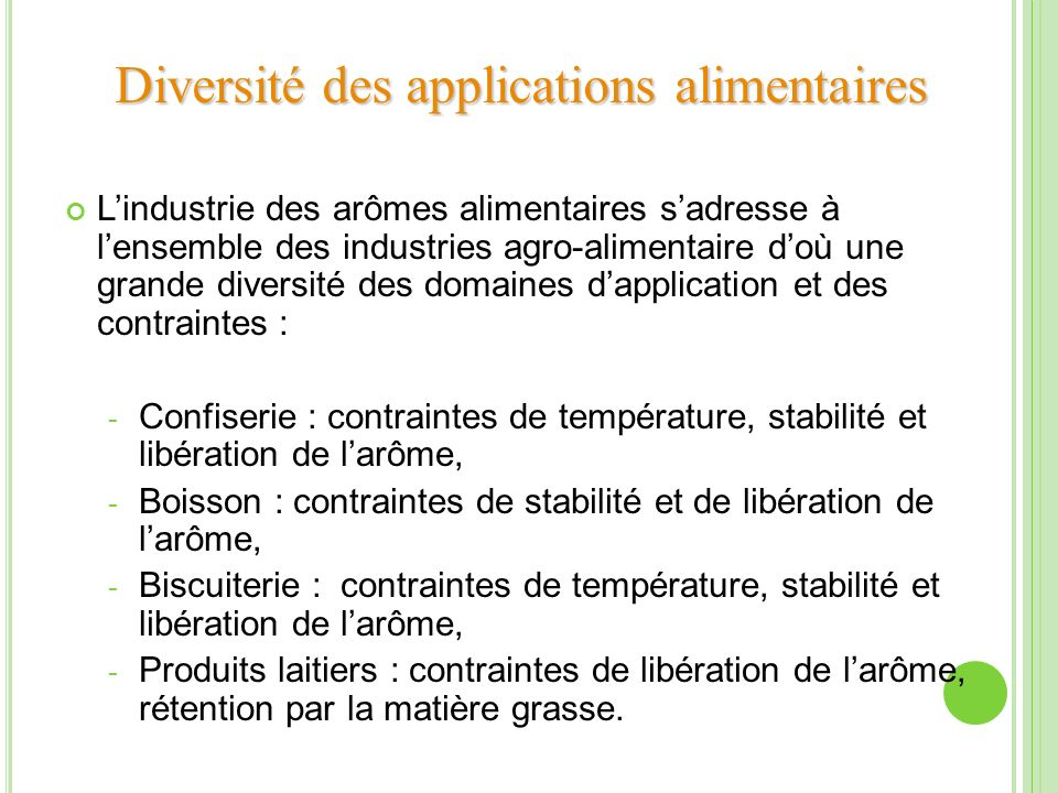 Diversité des applications alimentaires