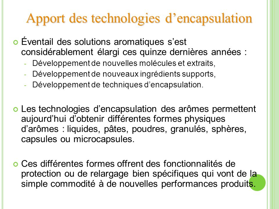 Apport des technologies d'encapsulation