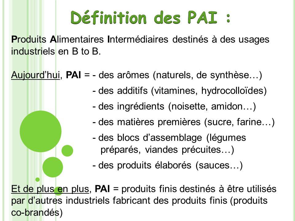 Définition des PAI : Produits Alimentaires Intermédiaires destinés à des usages industriels en B to B.