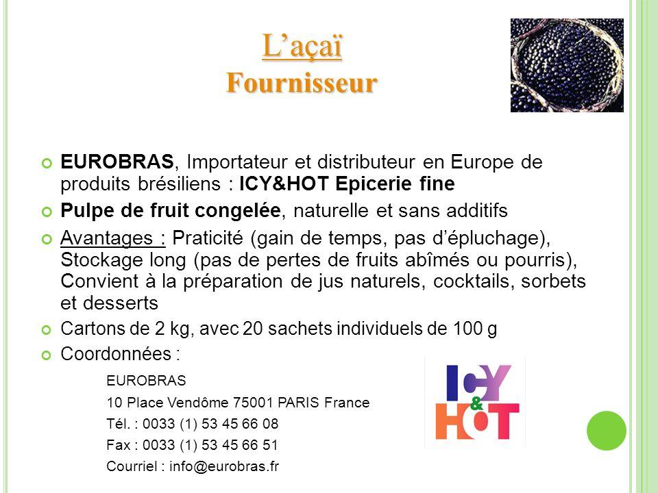 L'açaï Fournisseur EUROBRAS, Importateur et distributeur en Europe de produits brésiliens : ICY&HOT Epicerie fine.
