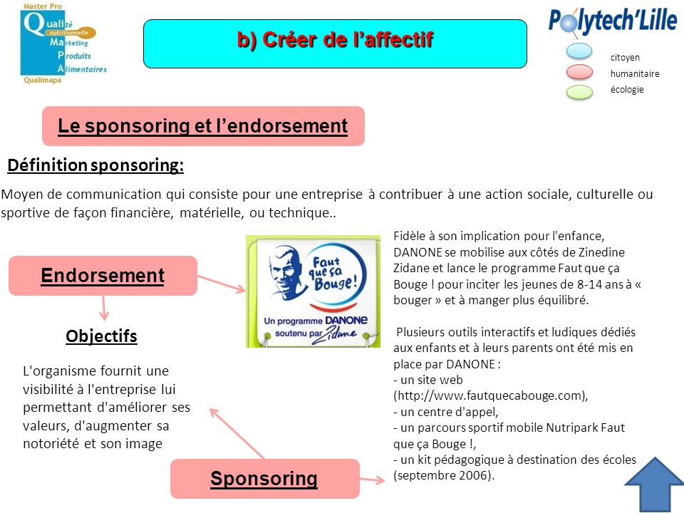 Le sponsoring et l'endorsement