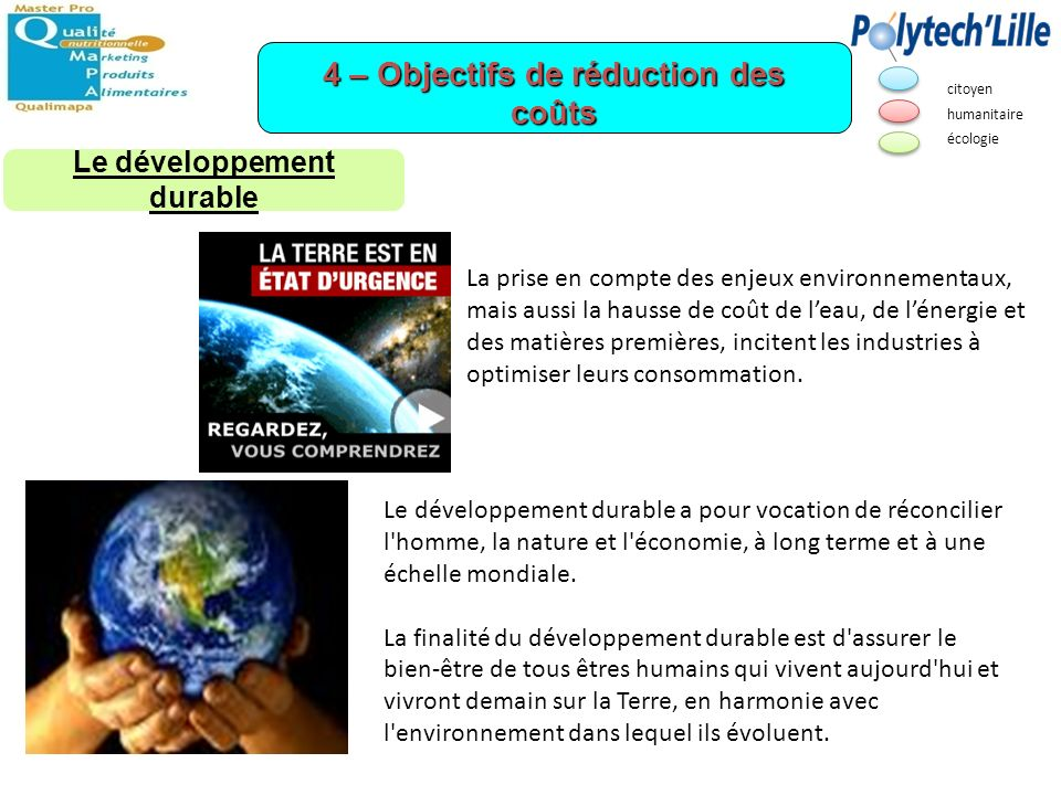 4 – Objectifs de réduction des coûts