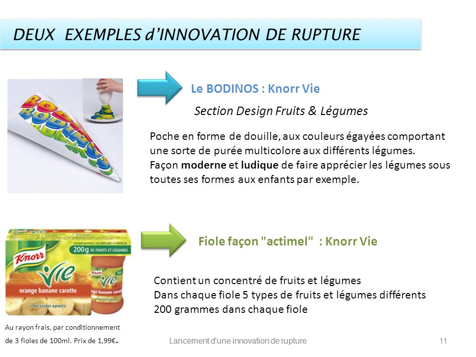 DEUX EXEMPLES d'INNOVATION DE RUPTURE