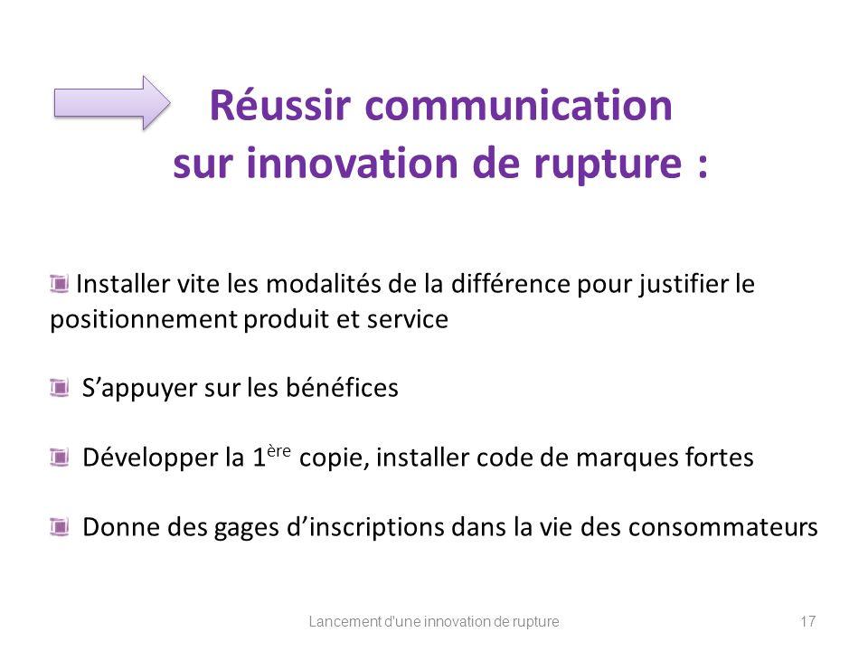 Réussir communication sur innovation de rupture :