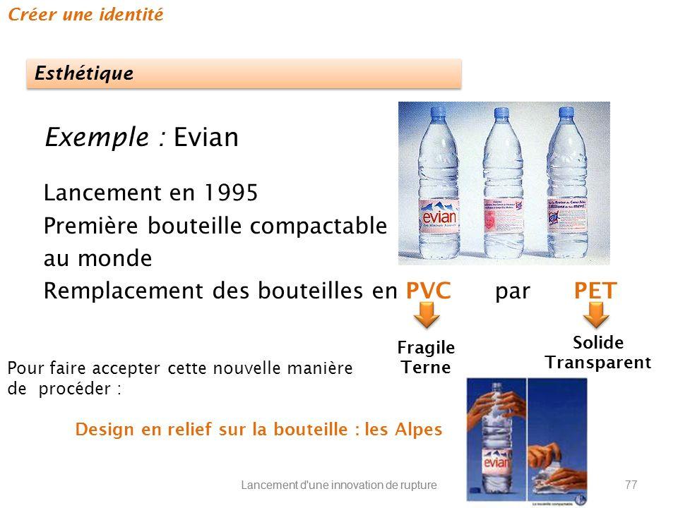 Exemple : Evian Lancement en 1995 Première bouteille compactable