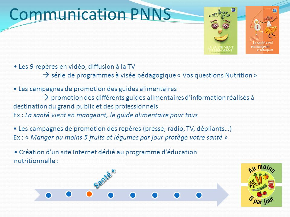 Communication PNNS Santé + Les 9 repères en vidéo, diffusion à la TV