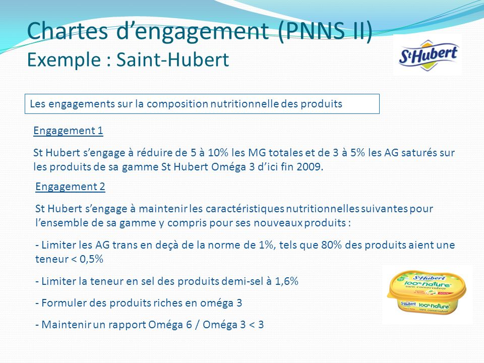 Chartes d'engagement (PNNS II) Exemple : Saint-Hubert