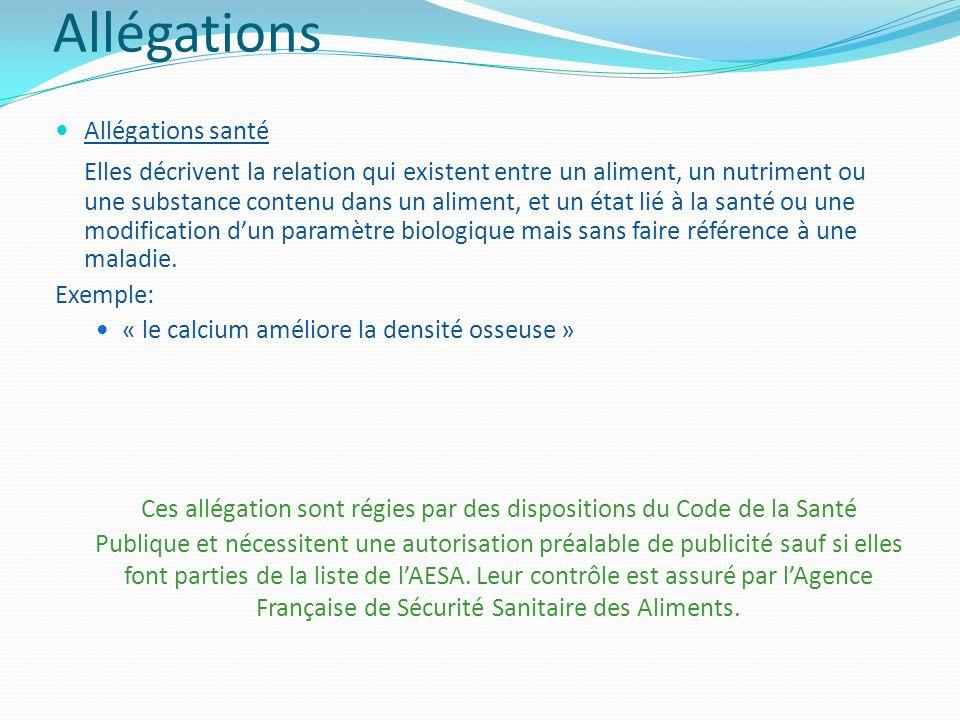 Allégations Allégations santé.