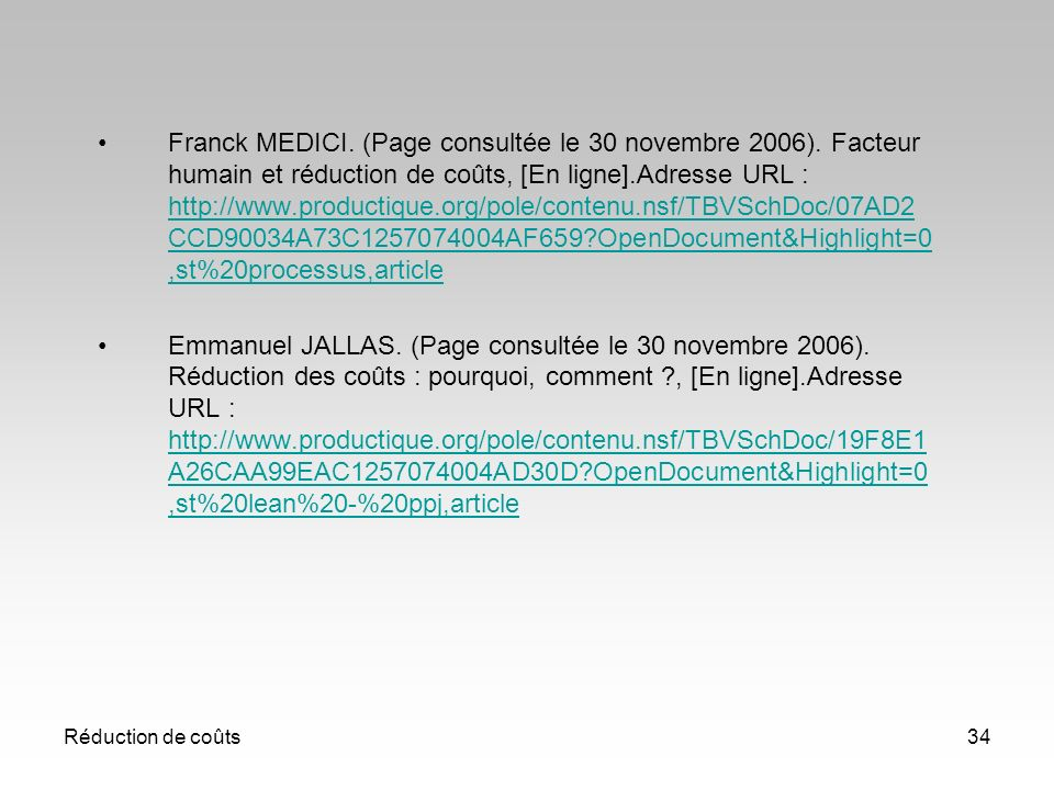 Franck MEDICI. (Page consultée le 30 novembre 2006)