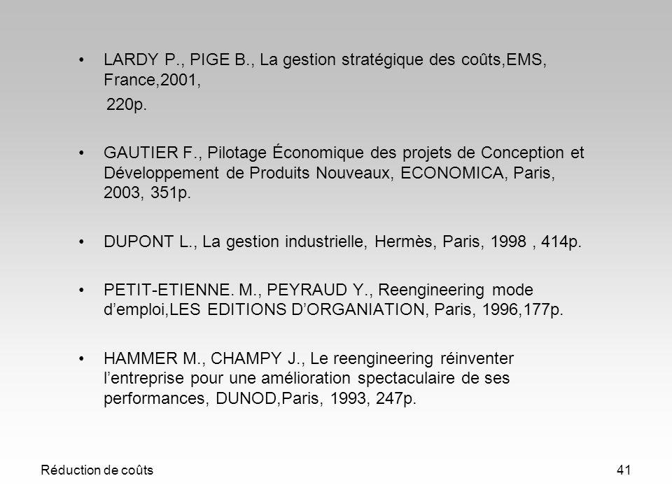 LARDY P., PIGE B., La gestion stratégique des coûts,EMS, France,2001,