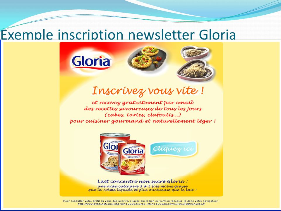 Exemple inscription newsletter Gloria