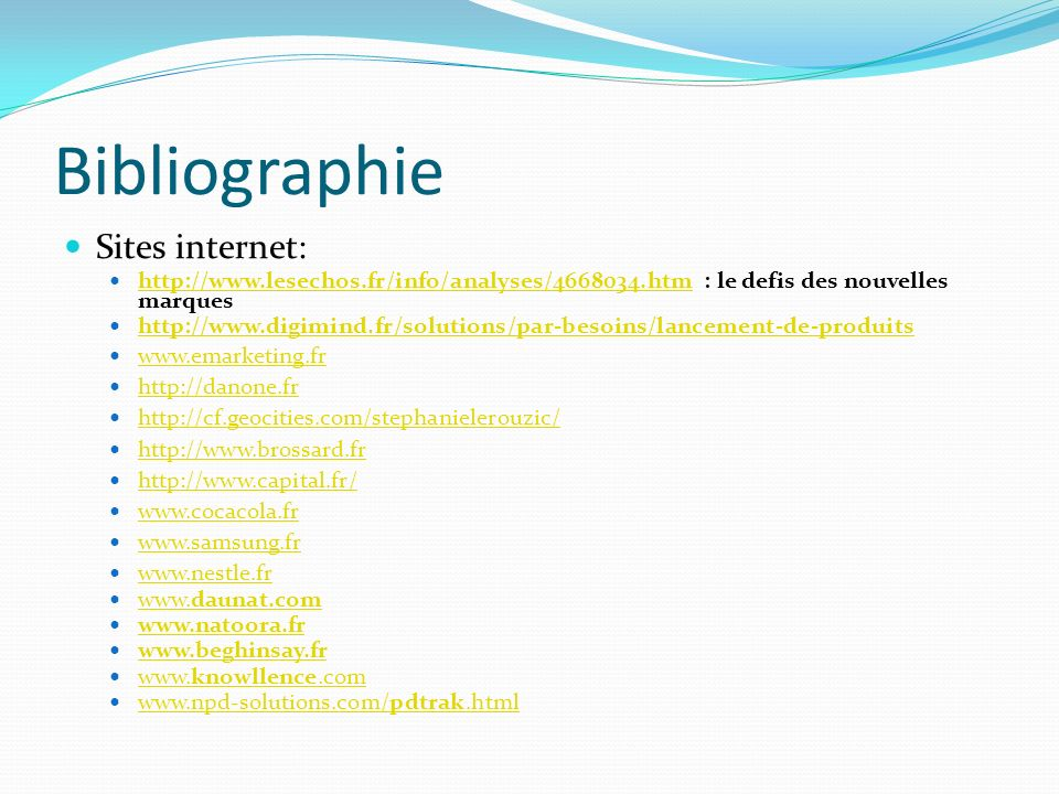 Bibliographie Sites internet: