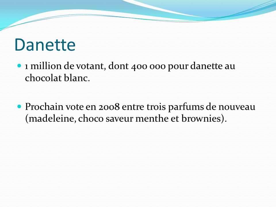 Danette 1 million de votant, dont pour danette au chocolat blanc.