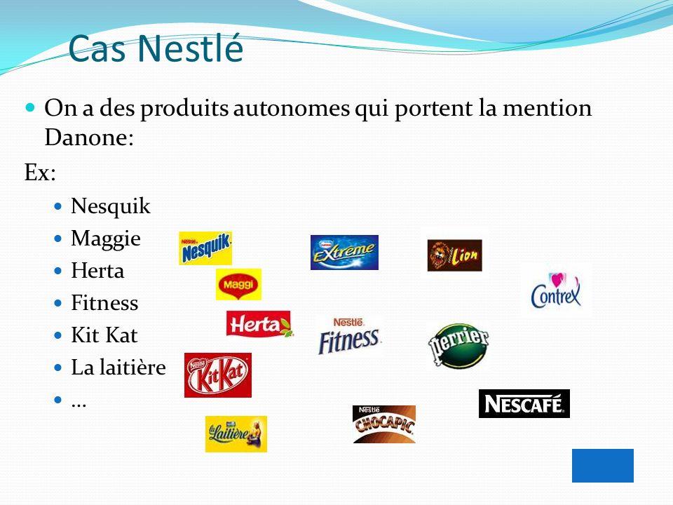 Cas Nestlé On a des produits autonomes qui portent la mention Danone: