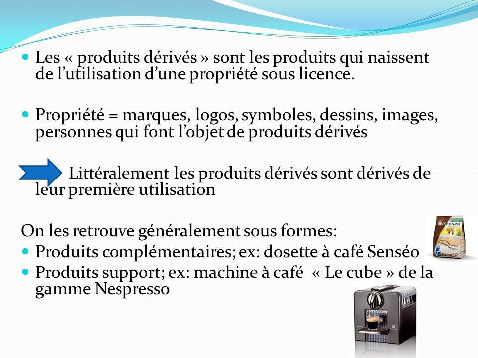 Les « produits dérivés » sont les produits qui naissent de l'utilisation d'une propriété sous licence.