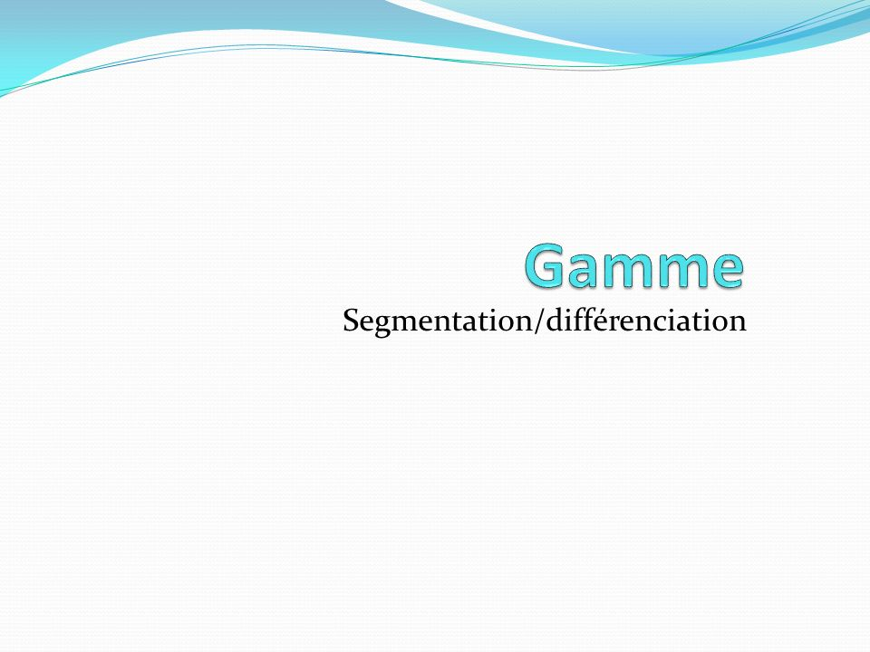 Segmentation/différenciation