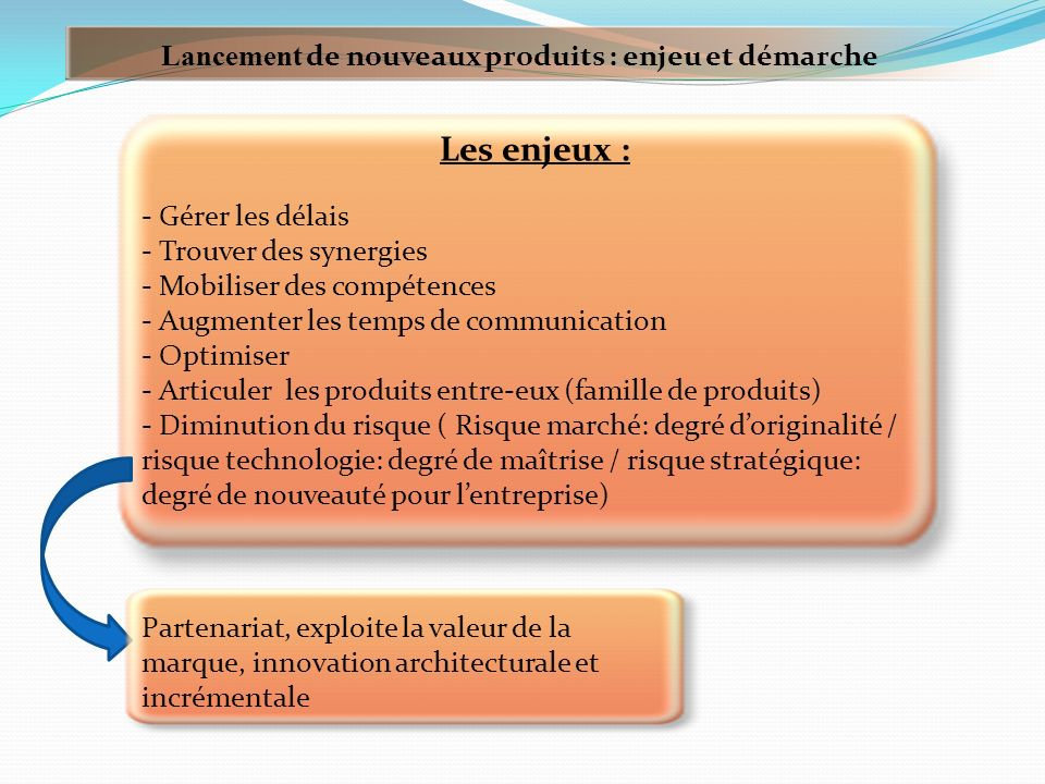 Les enjeux : Lancement de nouveaux produits : enjeu et démarche