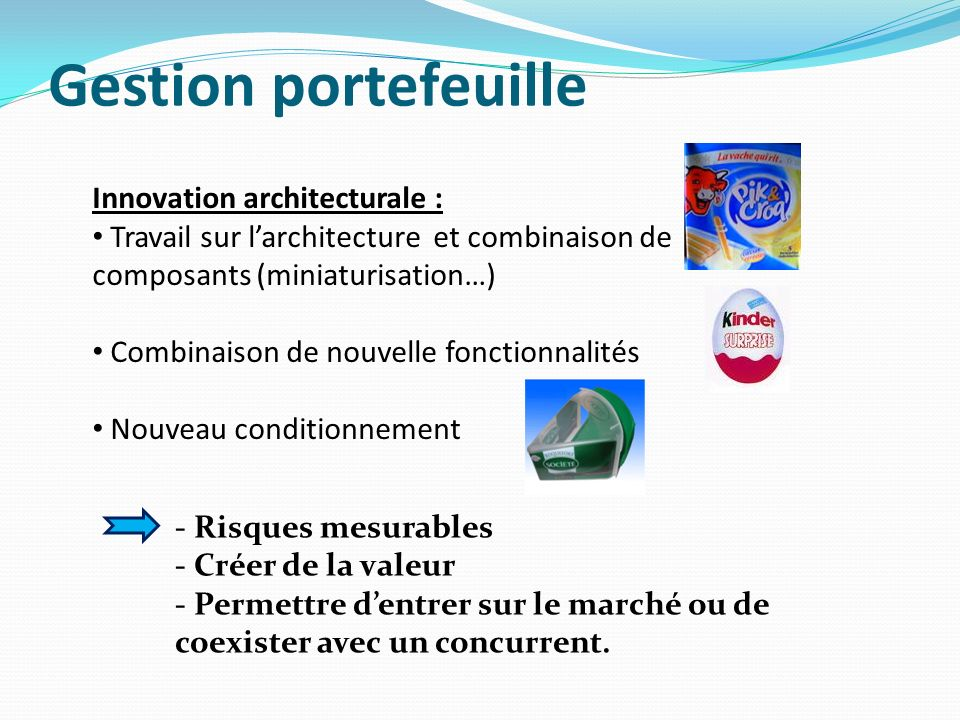 Gestion portefeuille Innovation architecturale :