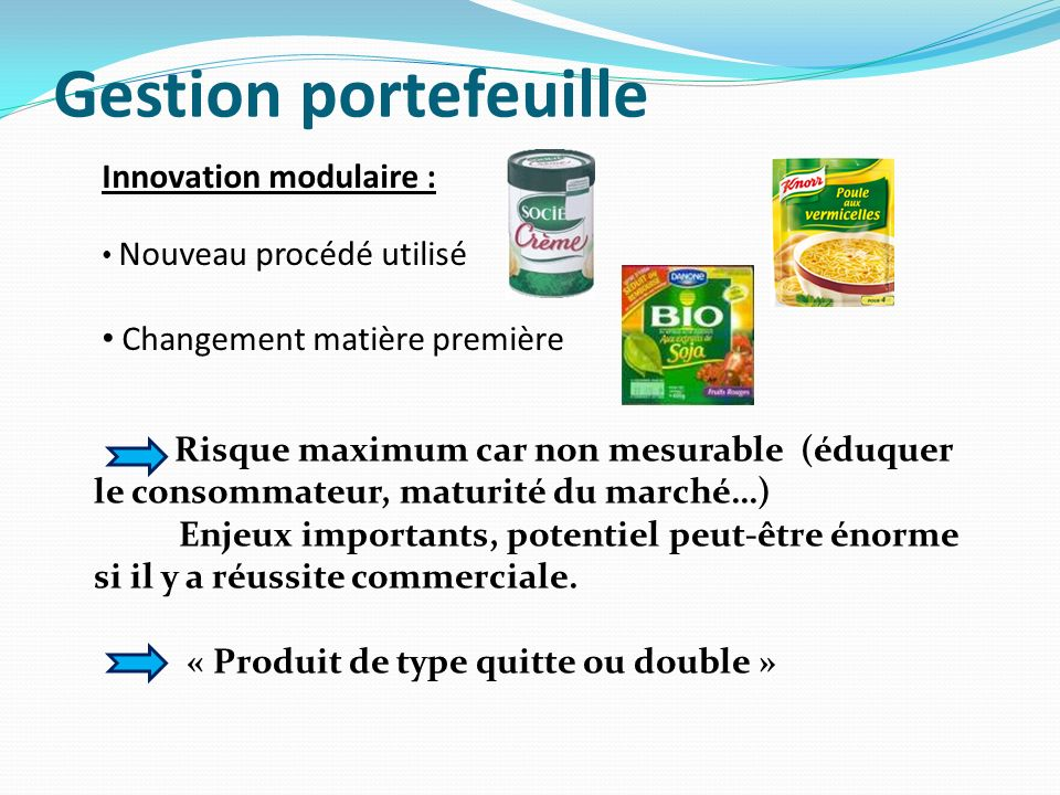 Gestion portefeuille Innovation modulaire :