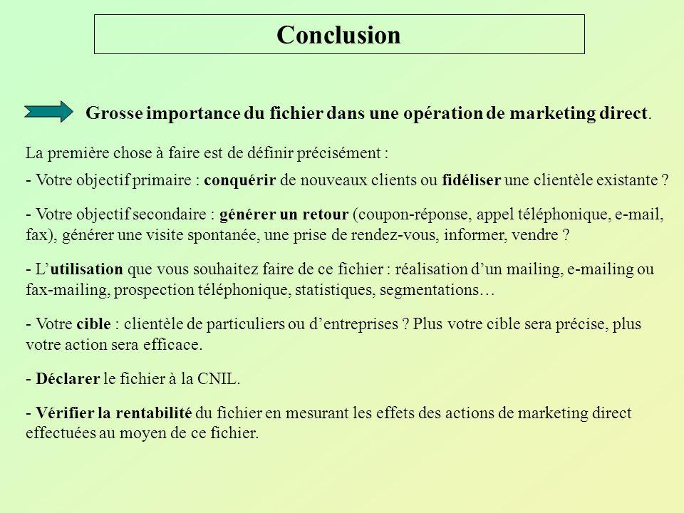 Conclusion Grosse importance du fichier dans une opération de marketing direct. La première chose à faire est de définir précisément :