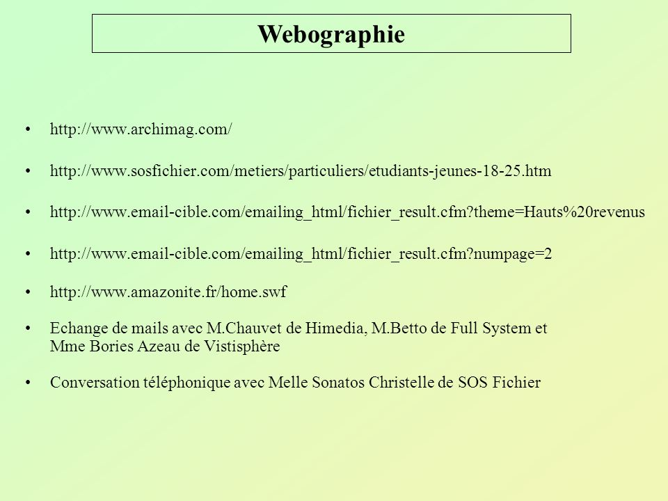 Webographie