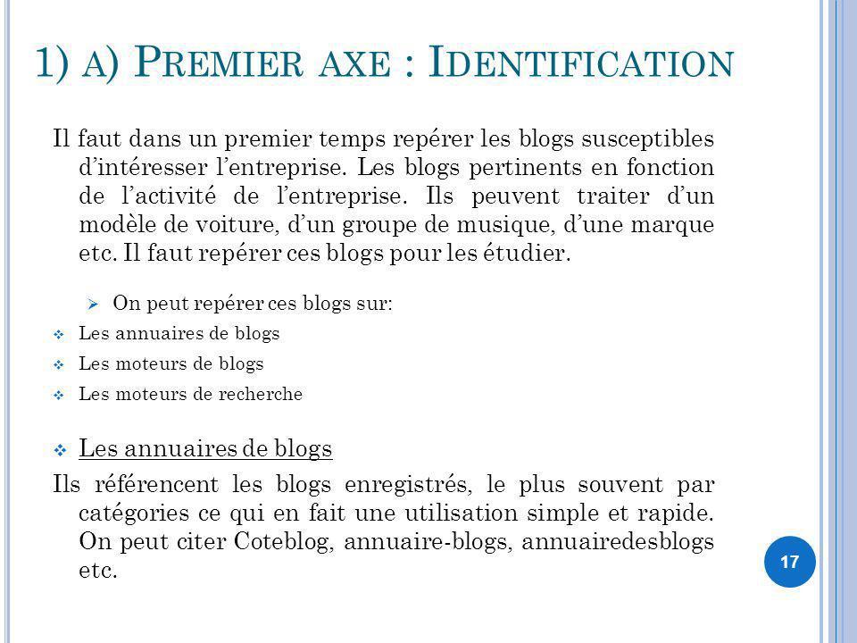 1) a) Premier axe : Identification