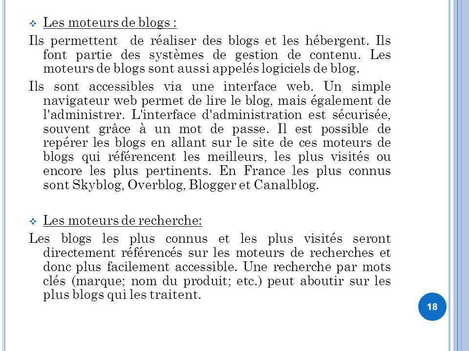 Les moteurs de blogs :
