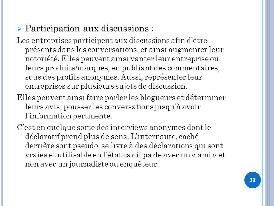 Participation aux discussions :