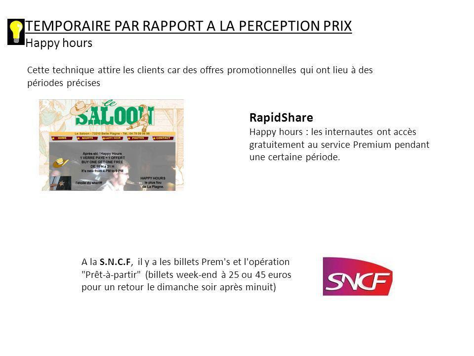 TEMPORAIRE PAR RAPPORT A LA PERCEPTION PRIX