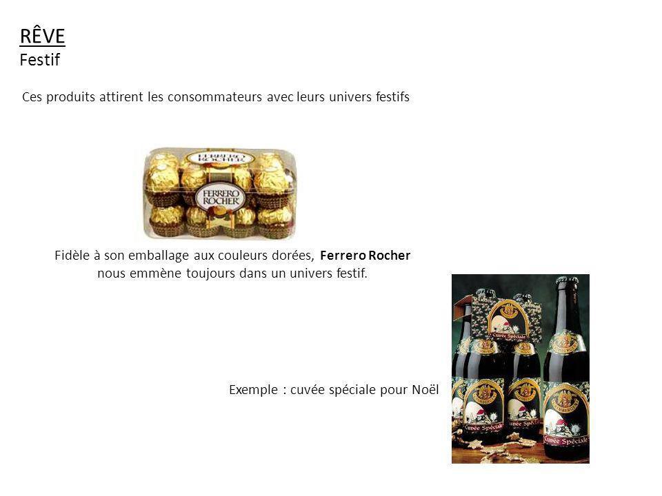 RÊVE Festif. Ces produits attirent les consommateurs avec leurs univers festifs.