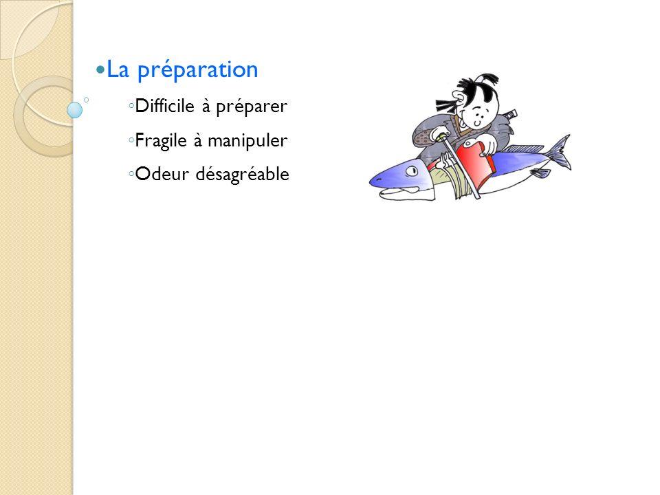 La préparation Difficile à préparer Fragile à manipuler