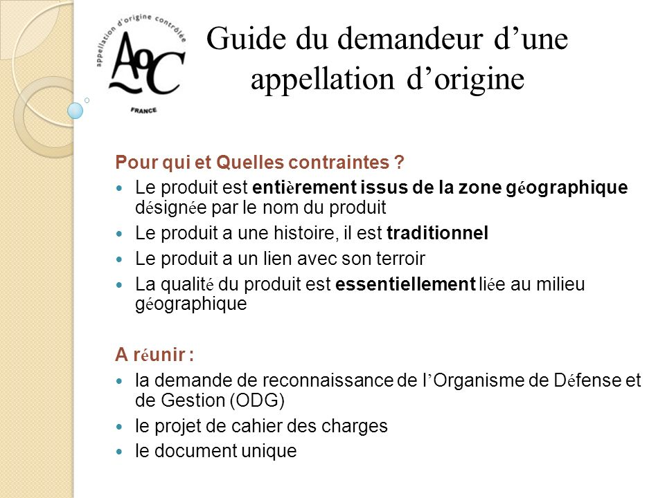 Guide du demandeur d'une appellation d'origine