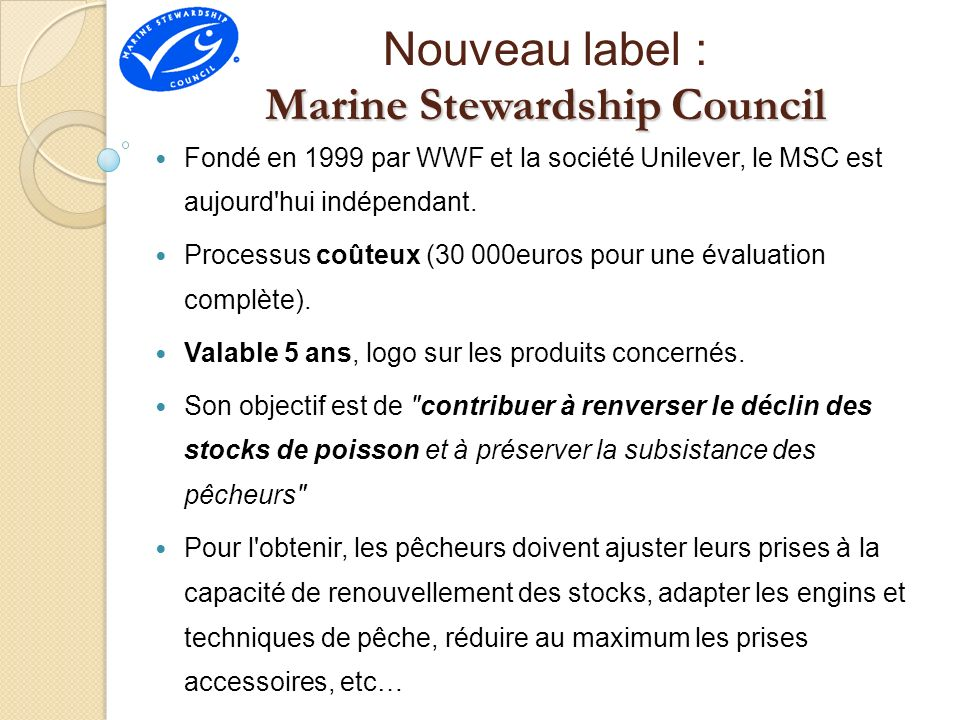 Nouveau label : Marine Stewardship Council