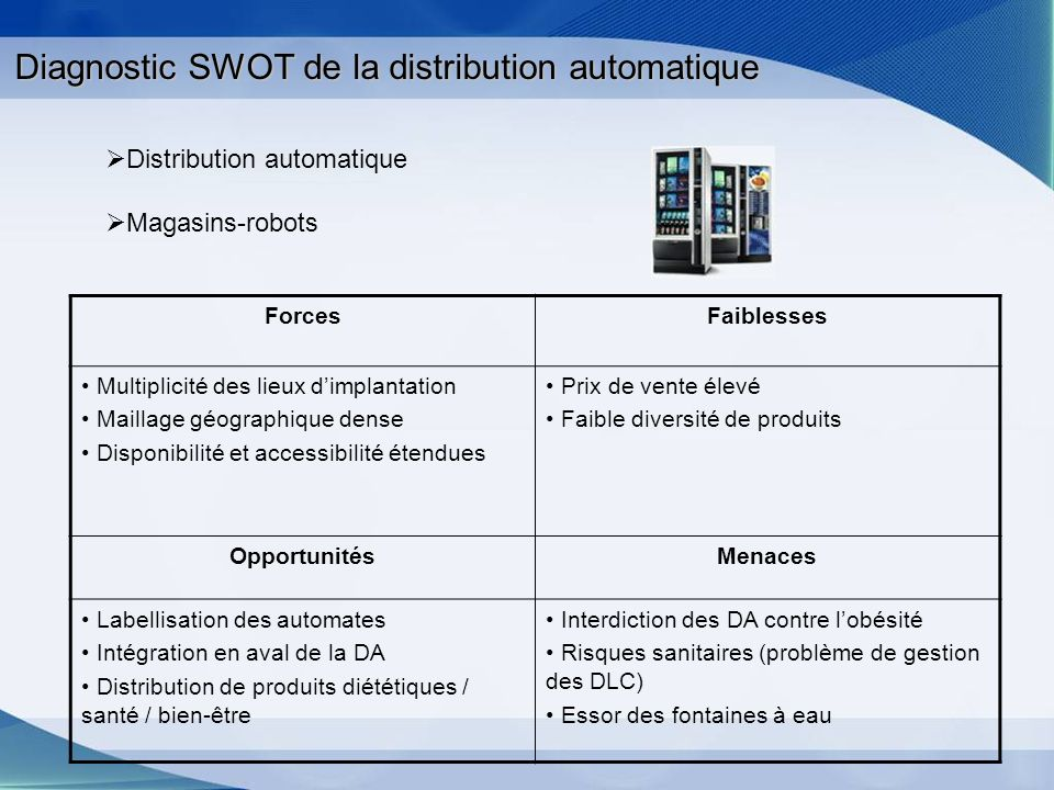 Diagnostic SWOT de la distribution automatique