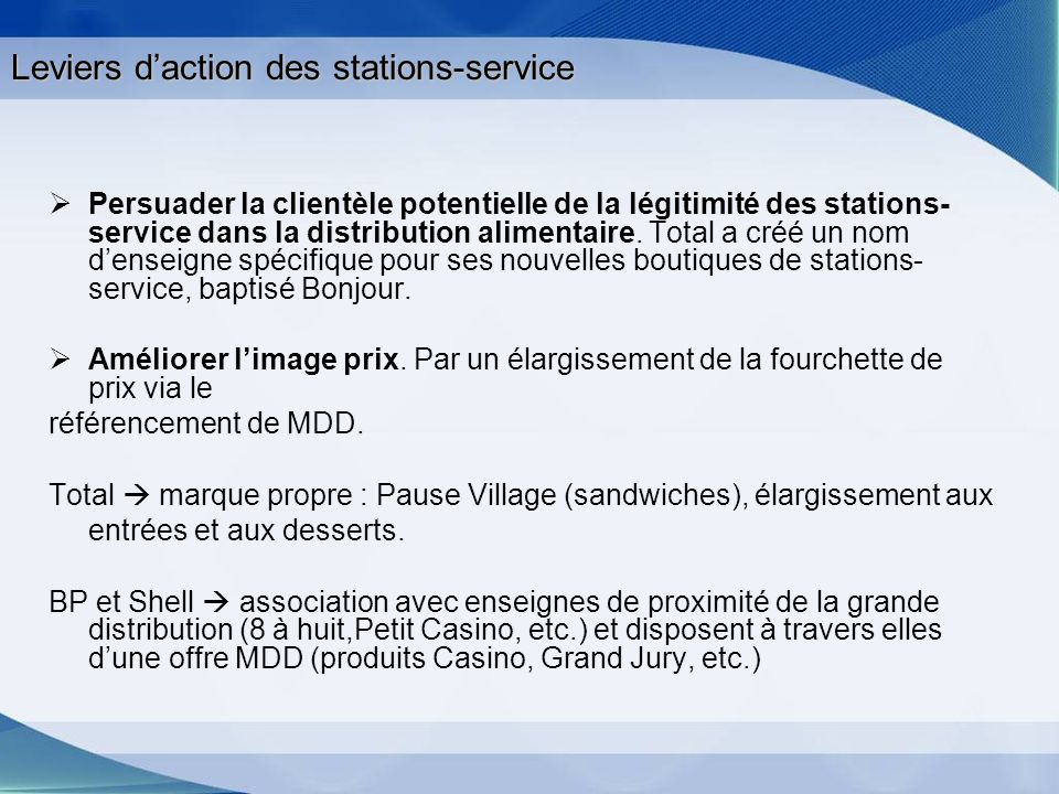 Leviers d'action des stations-service
