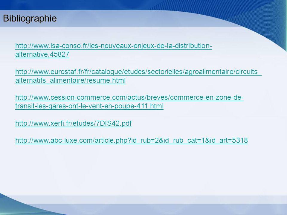 Bibliographie http://www.lsa-conso.fr/les-nouveaux-enjeux-de-la-distribution-alternative,45827.