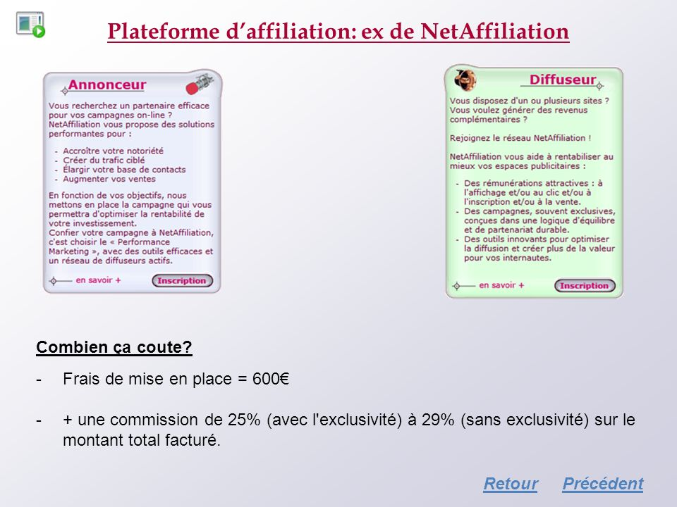 Plateforme d'affiliation: ex de NetAffiliation