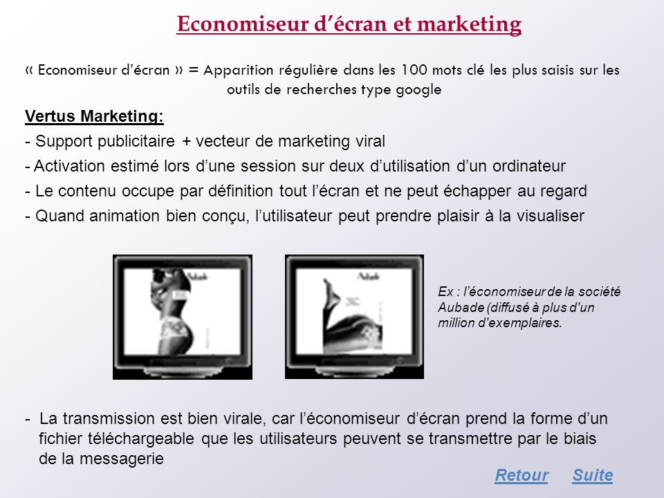 Economiseur d'écran et marketing