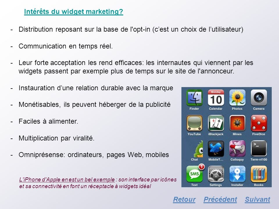 Intérêts du widget marketing