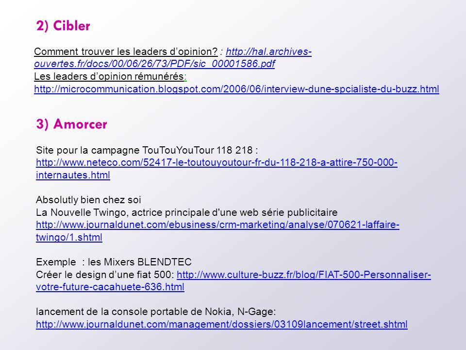 2) Cibler Comment trouver les leaders d'opinion : http://hal.archives-ouvertes.fr/docs/00/06/26/73/PDF/sic_00001586.pdf.