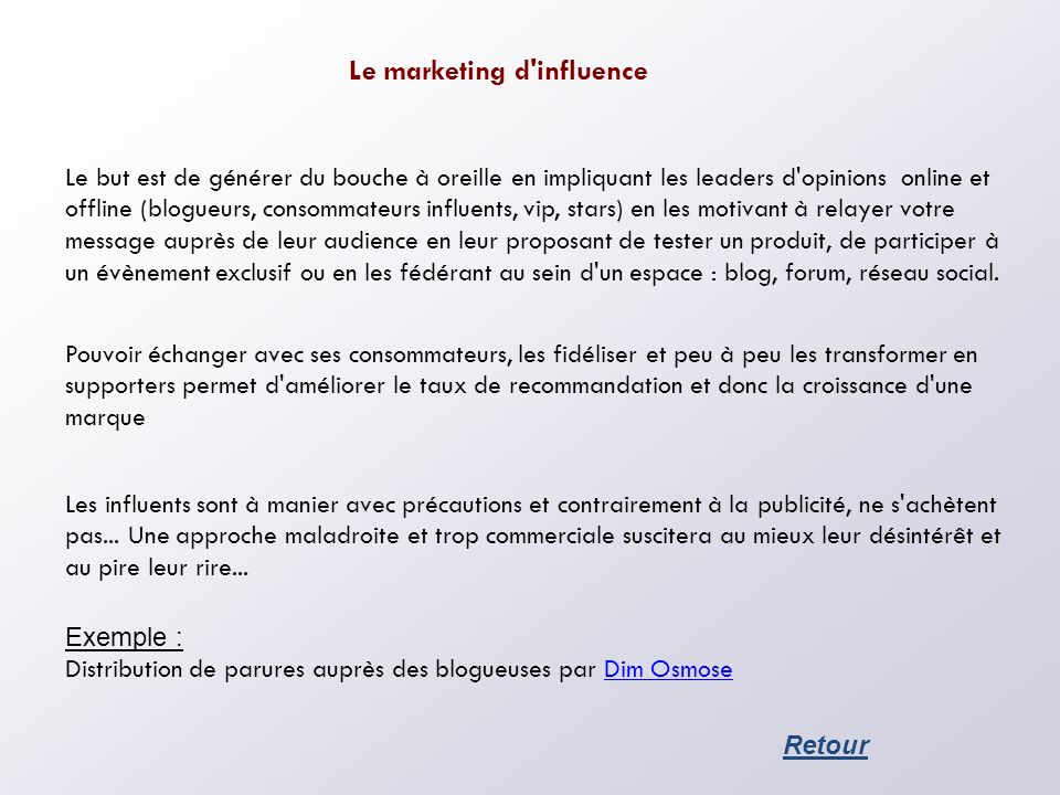 Le marketing d influence
