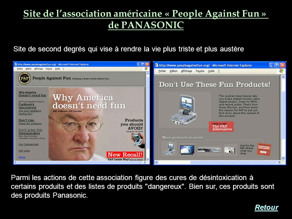 Site de l'association américaine « People Against Fun »
