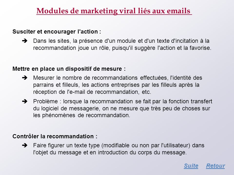 Modules de marketing viral liés aux emails