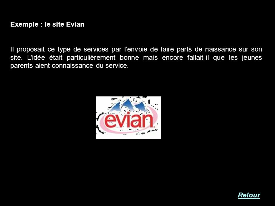 Exemple : le site Evian