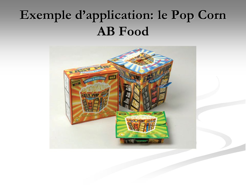 Exemple d'application: le Pop Corn AB Food