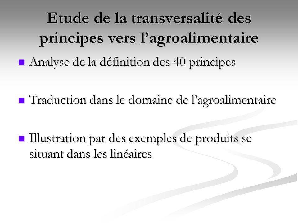 Etude de la transversalité des principes vers l'agroalimentaire
